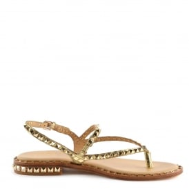 PEPS Studded Sandals Gold Leather Gold Studs