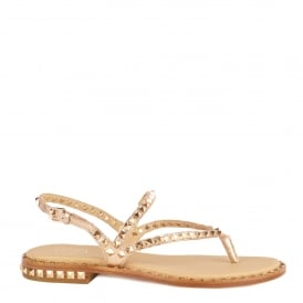 PEPS Studded Sandals Rose Gold Leather Gold Studs