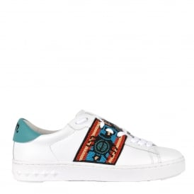 PHANTOM Beaded Trainers White Leather & Turquoise
