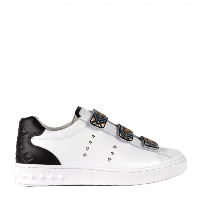 Ash PHARELL Beaded Strap Trainers White & Black Leather