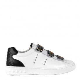 PHARELL Beaded Strap Trainers White & Black Leather