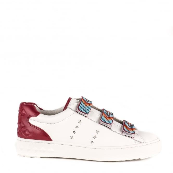 Ash PHARELL Beaded Strap Trainers White & Burgundy Leather