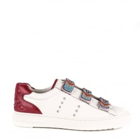 PHARELL Beaded Strap Trainers White & Burgundy Leather