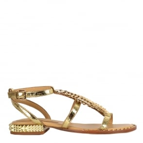 Ash PIXEL Sandals Gold Leather & Studs
