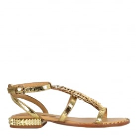 PIXEL Sandals Gold Leather & Studs