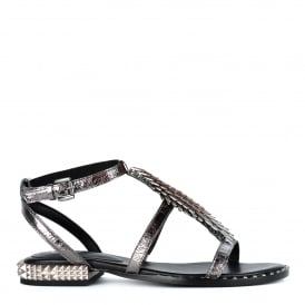 PIXEL Sandals Gunmetal Leather & Studs