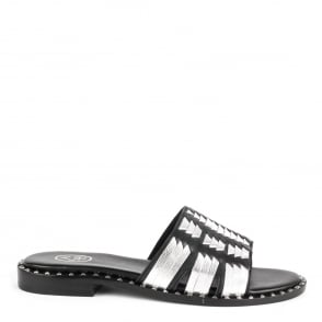 Ash PLAYA Sandals Black & Silver Leather