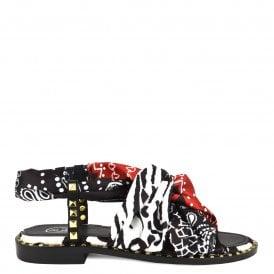 ec173fd6feaf PLAYA Studded Sandals Black Leather   Gold Studs
