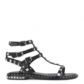 POISON BIS Studded Sandals Black Leather Silver Studs