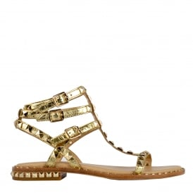 POISON Sandals Gold Leather & Studs