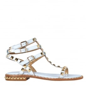POISON Sandals Ice Blue Leather Gold Studs
