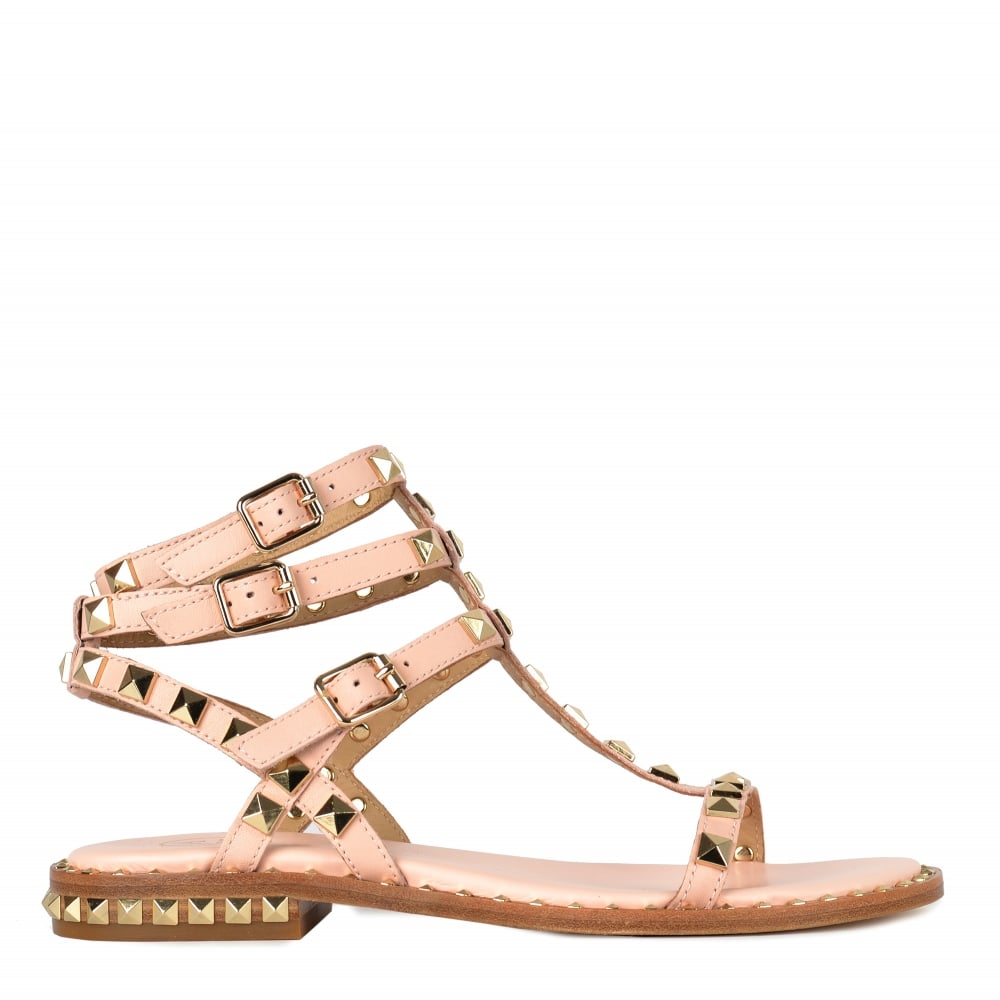 7ddaf5412a9f POISON Sandals Pink Leather Gold Studs