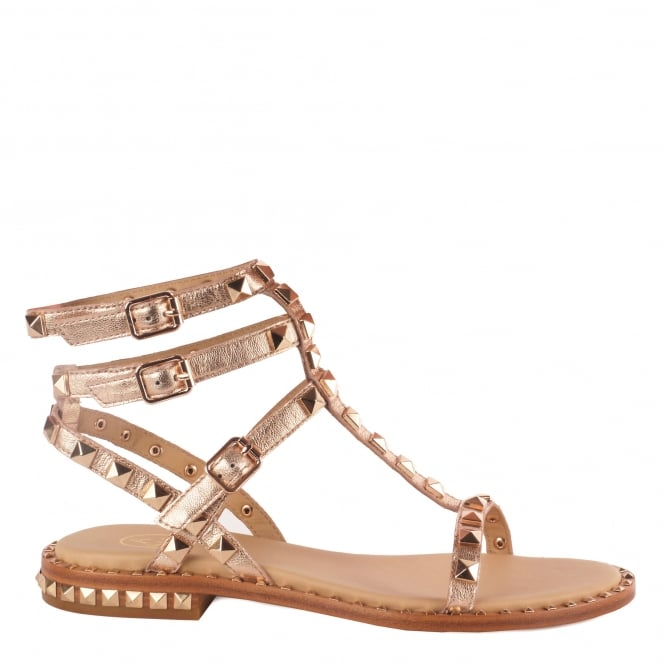 Ash POISON Sandals Rose Gold Leather & Gold Studs