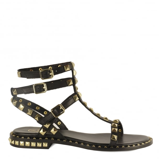 Ash POISON Studded Sandals Black Leather Gold Studs