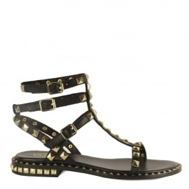 POISON Studded Sandals Black Leather Gold Studs