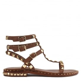 POISON Studded Sandals Brown Leather & Gold Studs