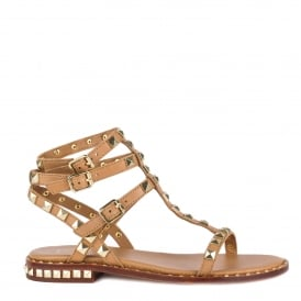POISON Studded Sandals Nude Leather Gold Studs