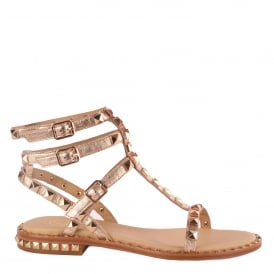 POISON Studded Sandals Rose Gold Leather & Gold Studs