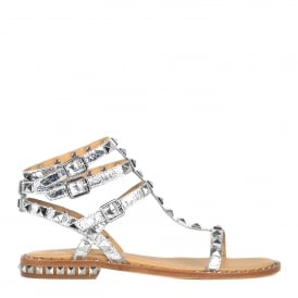 POISON Studded Sandals Silver Leather Studs