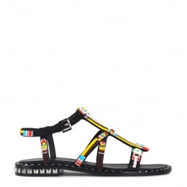POLYNESIA Beaded Sandals In Black Suede & Studs