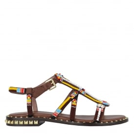 POLYNESIA Beaded Sandals In Brown Suede & Studs