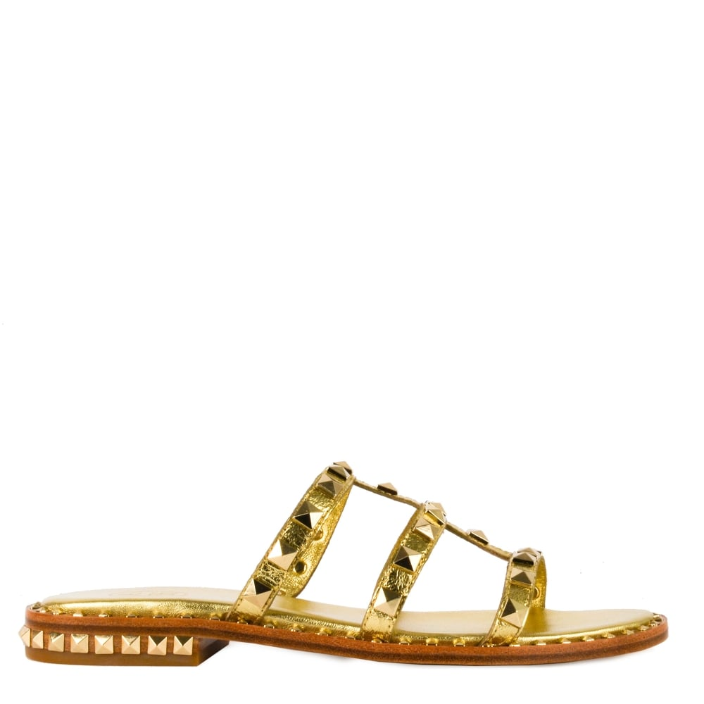 44ad6ad15ad4 Ash POP Sandals Gold Leather   Gold Studs