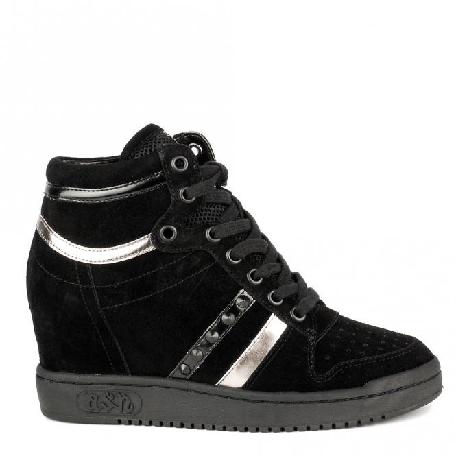 Ash PRINCE BIS Wedge Trainers Black Suede