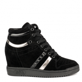 PRINCE BIS Wedge Trainers Black Suede