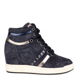 PRINCE BIS Wedge Trainers Midnight Blue Suede