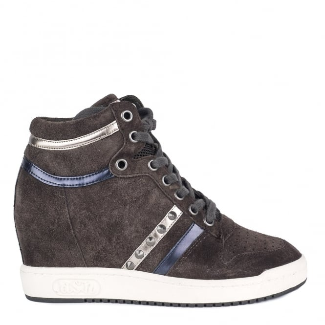 Ash PRINCE BIS Wedge Trainers Smoke Grey Suede