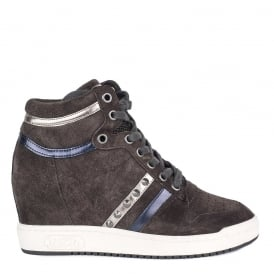 PRINCE BIS Wedge Trainers Smoke Grey Suede