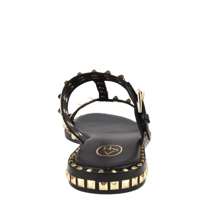 8b43dfbe65a4 PRINCE Sandals Black Leather  amp  Gold Studs