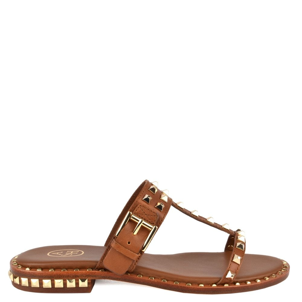 b9b19f1c6983 Ash PRINCE Sandals Brown Leather   Gold Studs
