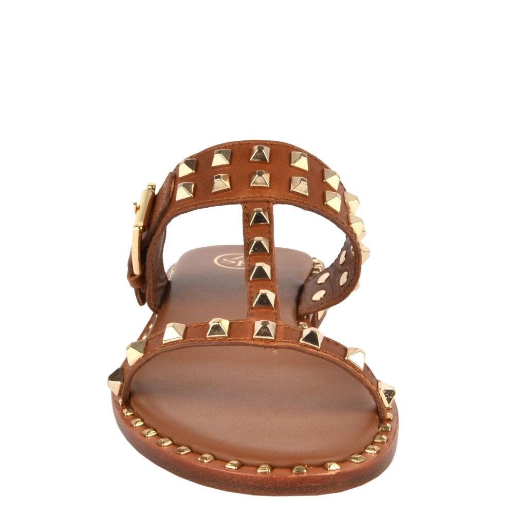 c2f565de3461 PRINCE Sandals Brown Leather  amp  Gold Studs