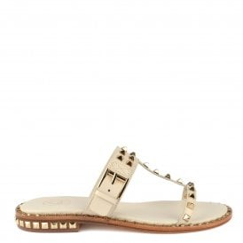 635761fbb071 PRINCE Sandals Ivory Leather   Gold Studs