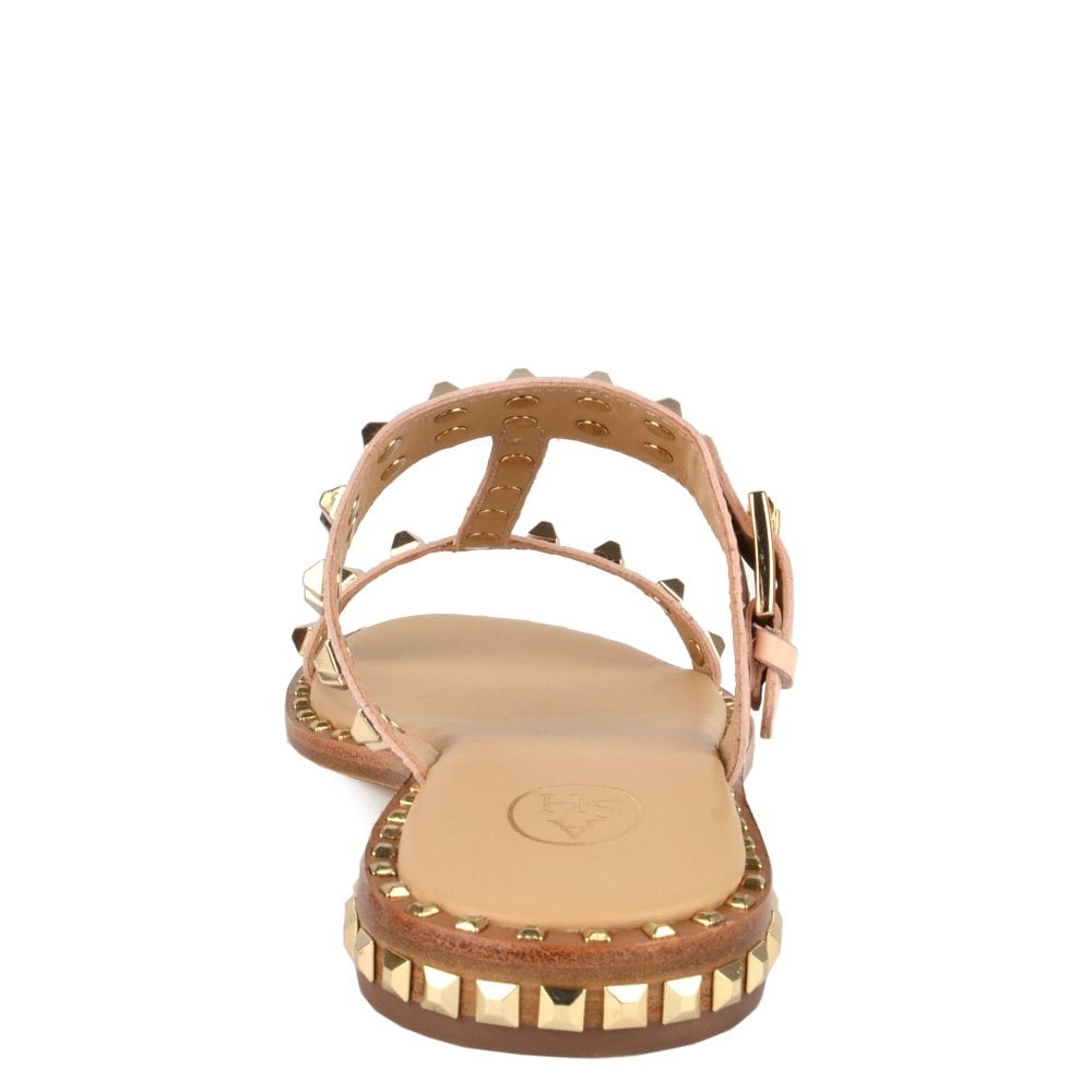 71985151a658 PRINCE Sandals Pink Leather  amp  Gold Studs