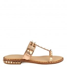 fd9ac40a18b6 PRINCE Sandals Rose Gold Leather   Studs