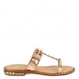 91cbda590666 PRINCE Sandals Rose Gold Leather   Studs