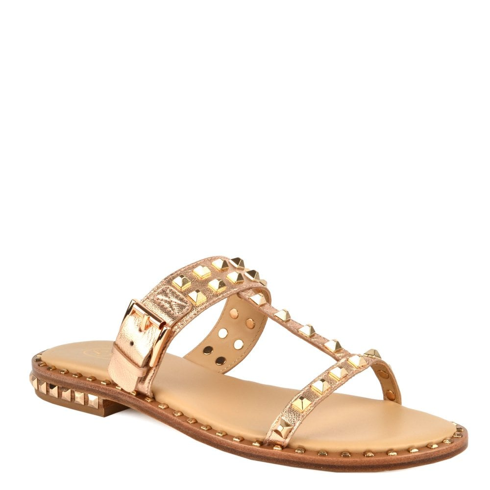 96d2f0a730f5 PRINCE Sandals Rose Gold Leather  amp  Studs