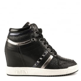 PRINCE Wedge Trainers Black Leather