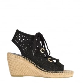 PRISMA Wedge Espadrilles Black Laser Cut Suede