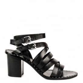 PUKET Sandals Black Leather Straps & Silver Studs