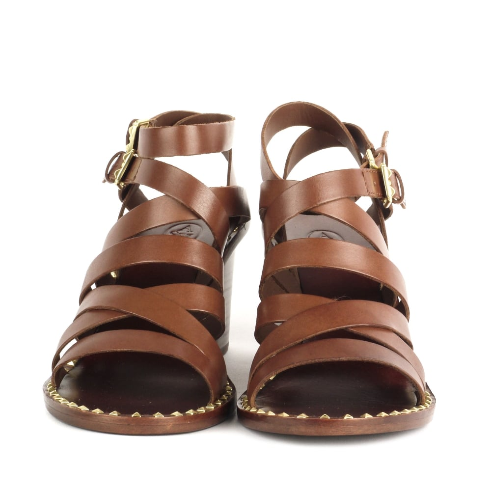 509bb4a5b93f Shop Ash Footwear PUKET Sandals Cacao Brown Leather Straps Gold Studs