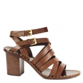 PUKET Sandals Cacao Brown Leather Straps & Gold Studs