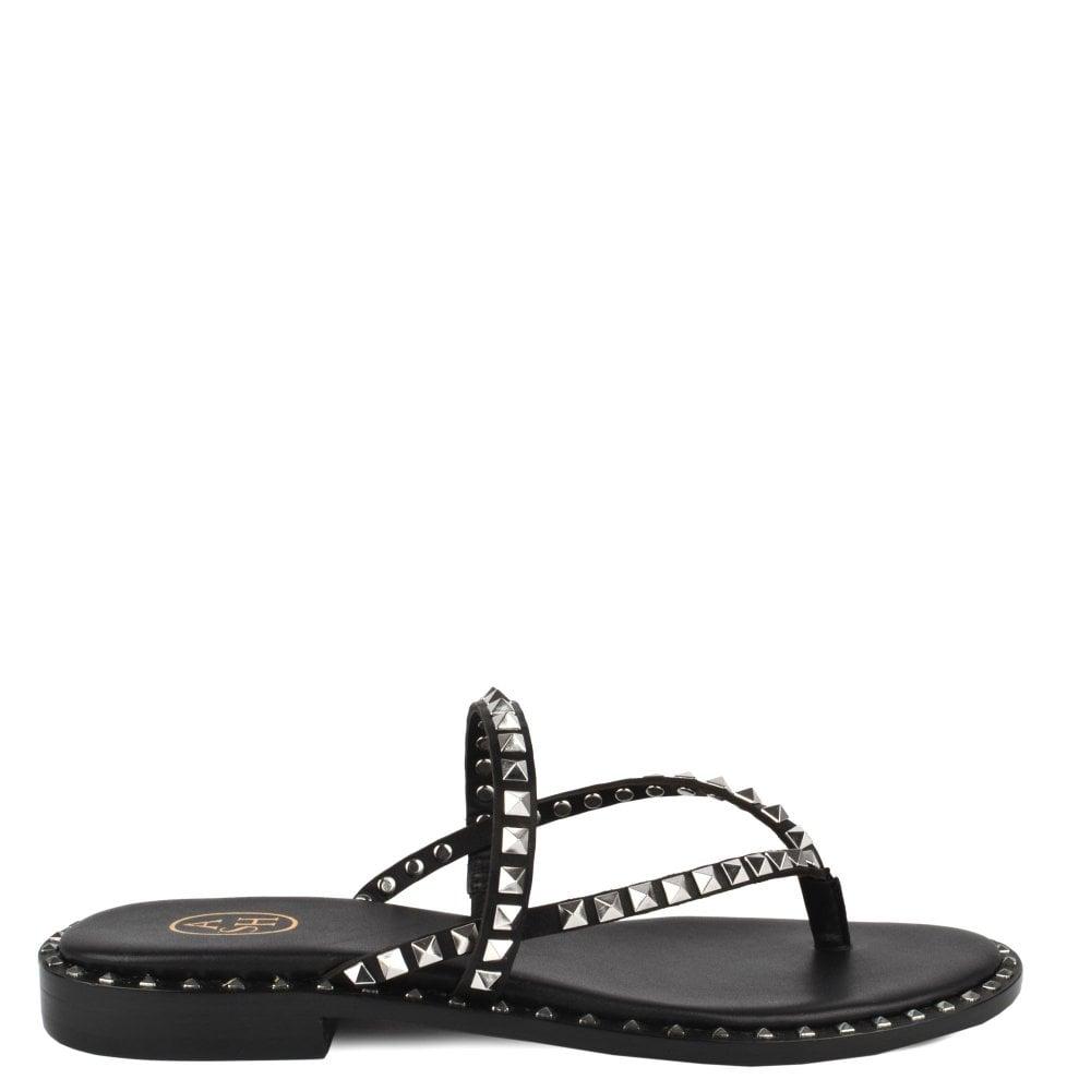 e7e0451f819 Ash PULP Sandals Black Leather   Silver Studs