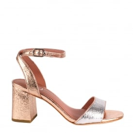 QUARTZ Heeled Sandals Rose Gold & Silver Textured Leather