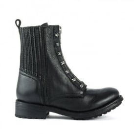 RACHEL Biker Boots Black Leather & Gunmetal