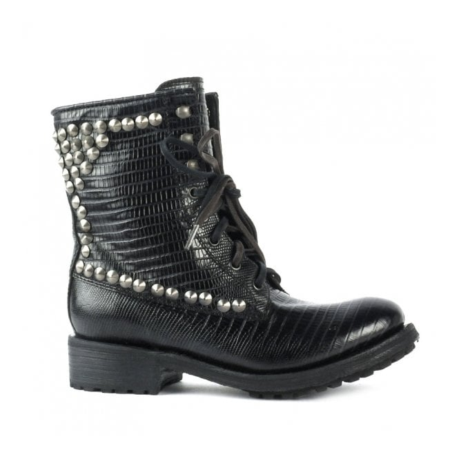 Ash RALPH Studded Biker Boots Black Tejus Embossed Leather
