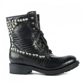 RALPH Studded Biker Boots Black Tejus Embossed Leather