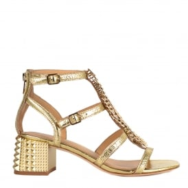 REBEL Block Heel Sandals Gold Leather & Studs